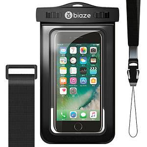 """Чехол водонепроницаемый Biaze Waterproof для телефона до 5.8"""" с дополнительным креплением на руку (Черный)"""