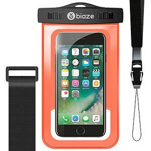 """Чехол водонепроницаемый Biaze Waterproof для телефона до 5.8"""" с дополнительным креплением на руку (Оранжевый)"""