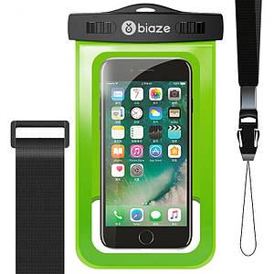 """Чехол водонепроницаемый Biaze Waterproof для телефона до 5.8"""" с дополнительным креплением на руку (Зеленый)"""