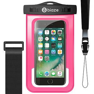 """Чехол водонепроницаемый Biaze Waterproof для телефона до 5.8"""" с дополнительным креплением на руку (Розовый)"""