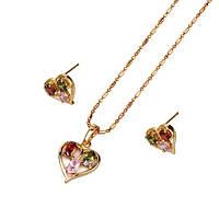 Позолоченный комплект кулон с сережками Сердце