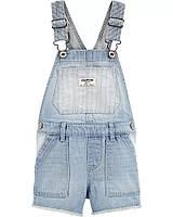 Стильный джинсовый полукомбинезон с рваным низом ОшКош для девочки
