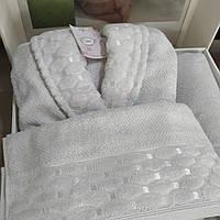 Набор халат махровый XL/полотенце Şikel Турция
