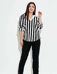 Женская черно-белая рубашка в полоску