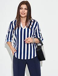 Женская деловая сине-белая рубашка в полоску