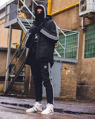 Куртка зимняя мужская Adidas Originals зима черная с капюшоном на манжете