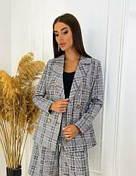 Двубортный женский серый пиджак