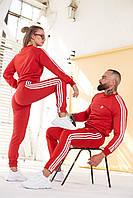 Унисекс спортивный костюм Adidas красный свитшот - штаны лето/весна/осень мужской / женский