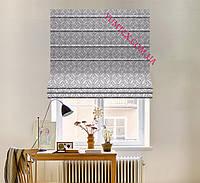 Римская штора ткань хлопок тефлон серые круги с узорами на пепельном фоне 032659v29 с доставкой