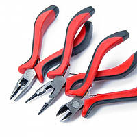 Набор стальных инструментов 3шт, на блистере: Круглогубцы + Плоскогубцы + Кусачки, Красные