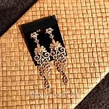 Витончені сережки з орнаментом золотого кольору (8 см), фото 6