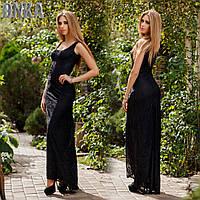 Черное гипюровое женское платье в пол