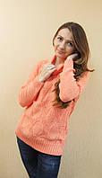 Женский ажурный вязаный свитер с хомутом кораловый, фото 1