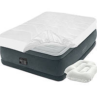 Двухспальная надувная кровать Intex, 152 х 203 х 46, встроенный электрический насос, наматрасник и подушки