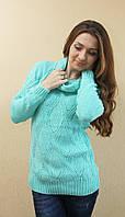 Женский ажурный вязаный свитер с хомутом