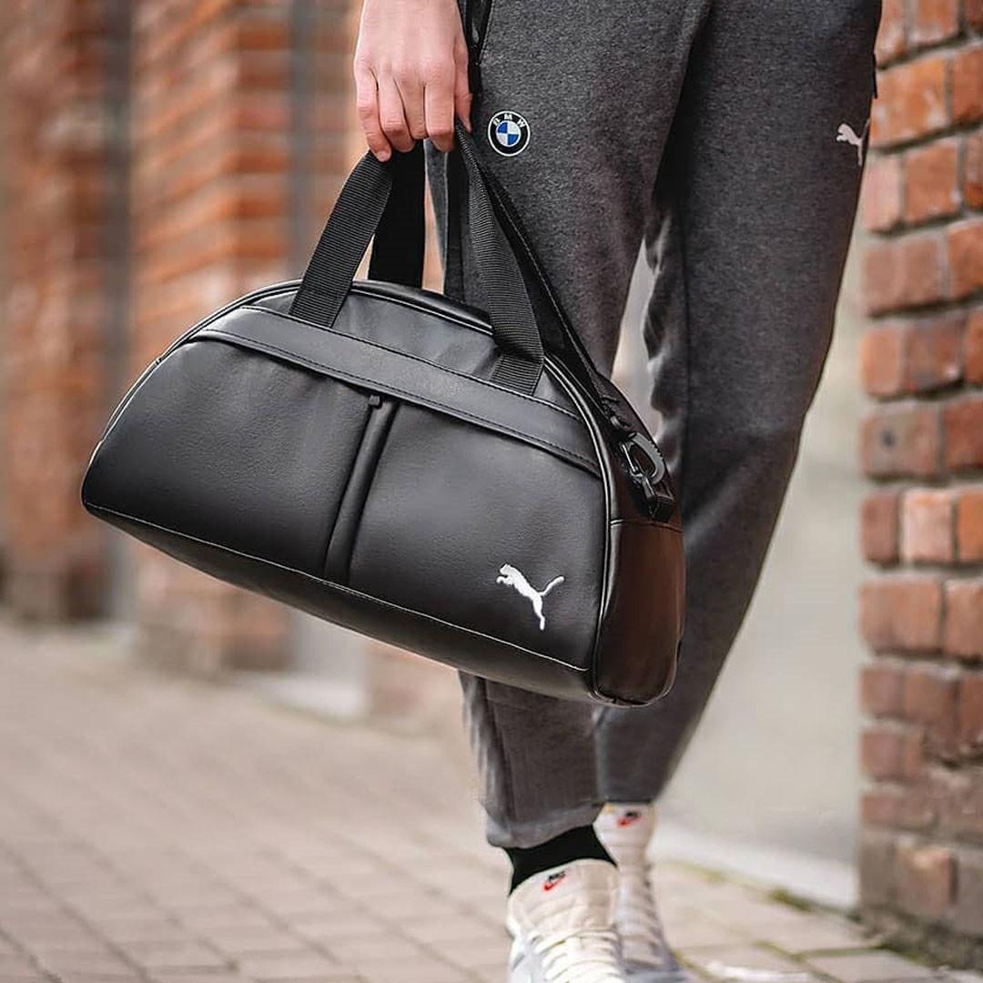 Фітнес-сумка пума, Puma для тренувань. Чорна. Кожзам