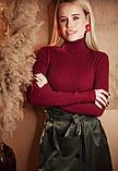 Женская водолазка в рубчик темно-красная, базовый гольфик лапша, джемпер с горлом, S-M-L, 42-44-46-48, фото 2