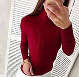 Женская водолазка в рубчик темно-красная, базовый гольфик лапша, джемпер с горлом, S-M-L, 42-44-46-48, фото 6