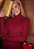 Женская водолазка в рубчик темно-красная, базовый гольфик лапша, джемпер с горлом, S-M-L, 42-44-46-48, фото 3