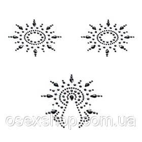 Пэстис з кристалів Petits Joujoux Gloria set of 3 - Black, прикраса на груди і вульву
