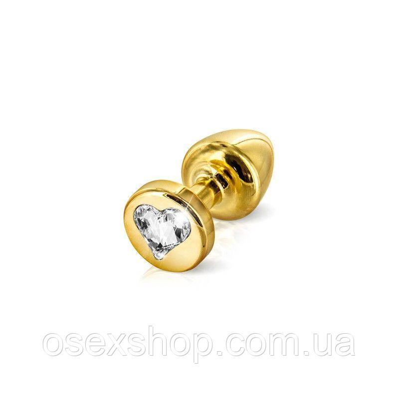 Анальная пробка Diogol Anni R Heart Gold: Кристалл 25мм, с кристаллом Swarovsky в виде сердечка