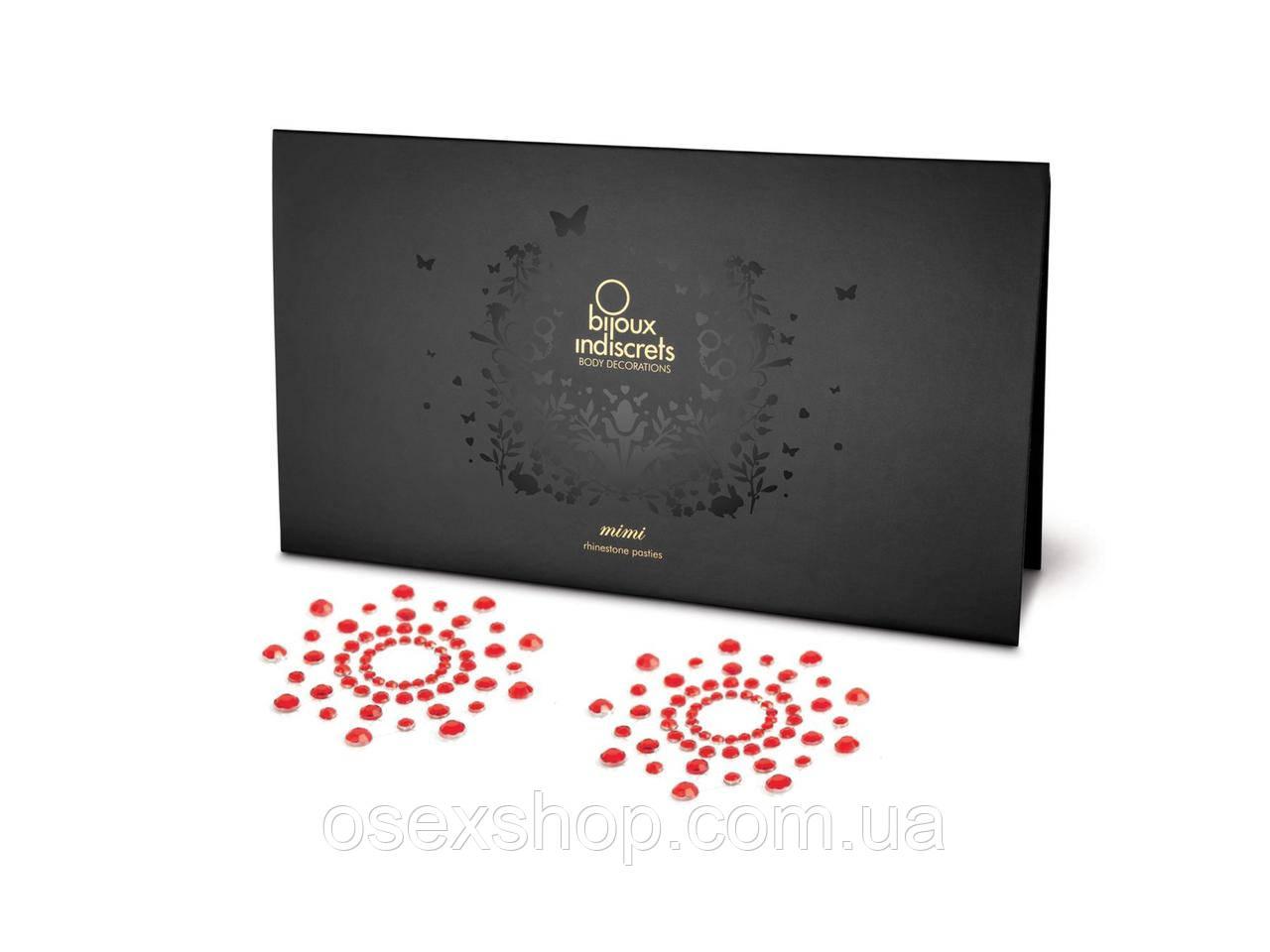 Пэстис из кристаллов Bijoux Indiscrets - Mimi Red, украшение на грудь