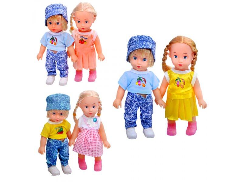 Кукла 8852  3 вида, мальчик+девочка, в кульке, 20-19 см