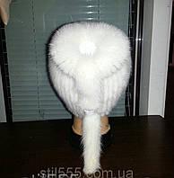 Меховая шапка  из  белой норки  на вязанной  основе