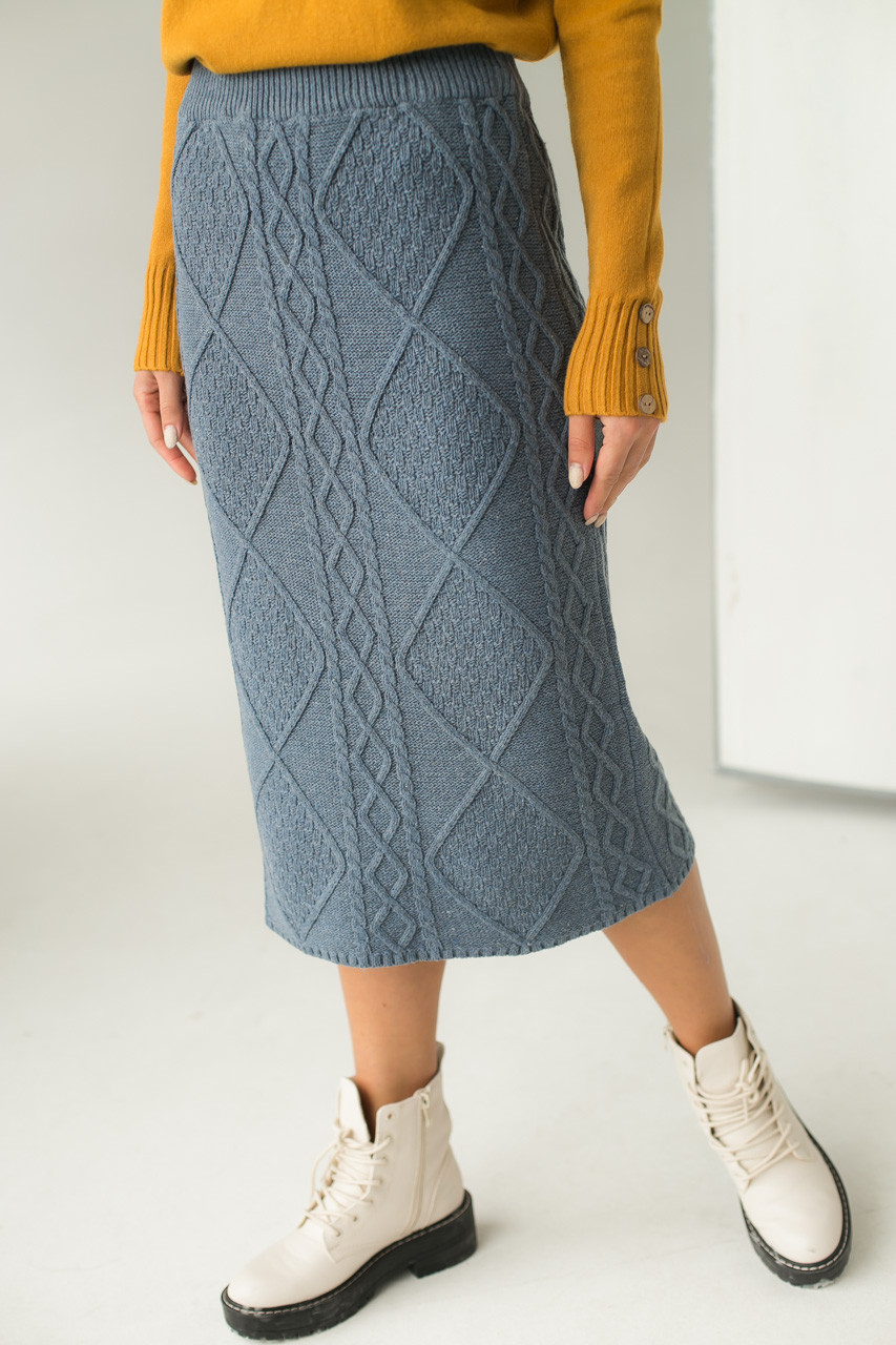 Теплая вязаная юбка LUREX - серый цвет, L (есть размеры)
