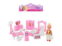 Мебель 13 предметов, с куклой 10см, в кульке, 21-23-4,5см