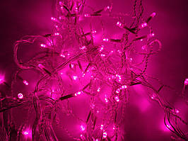 Светодиодная гирлянда 5 метров на батарейках розовый ECOLEND