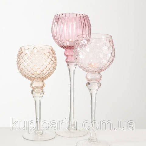 Набор 3-х подсвечников в виде бокала розовое стекло h30-40см Гранд Презент 7057600