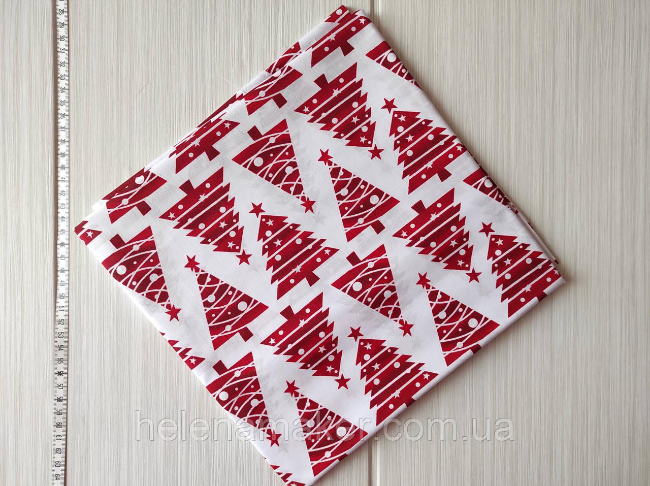 Новогодняя ткань с рисунком Красные елочки 50*50 см