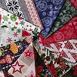 Новогодняя ткань Рождественник и елочные веточки на черном фоне 50*50 см, фото 2