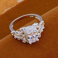Посеребрённое стильное кольцо 925 с фианитами, 17 р. Джессика, фото 1