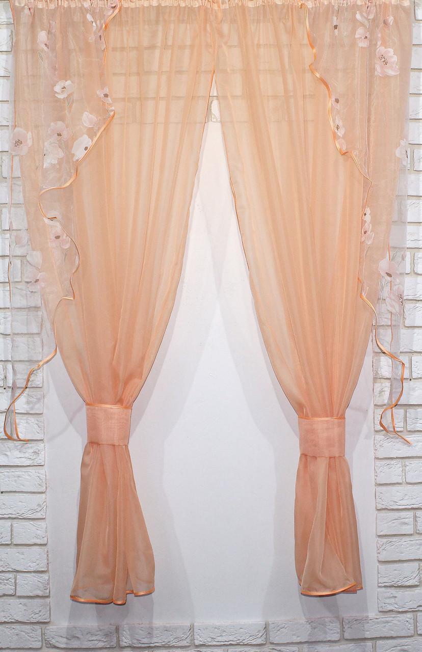 Комплект кухонные шторки с подвязками. Цвет:Персиковый (2,8*1,7м.)  №065к 50-098