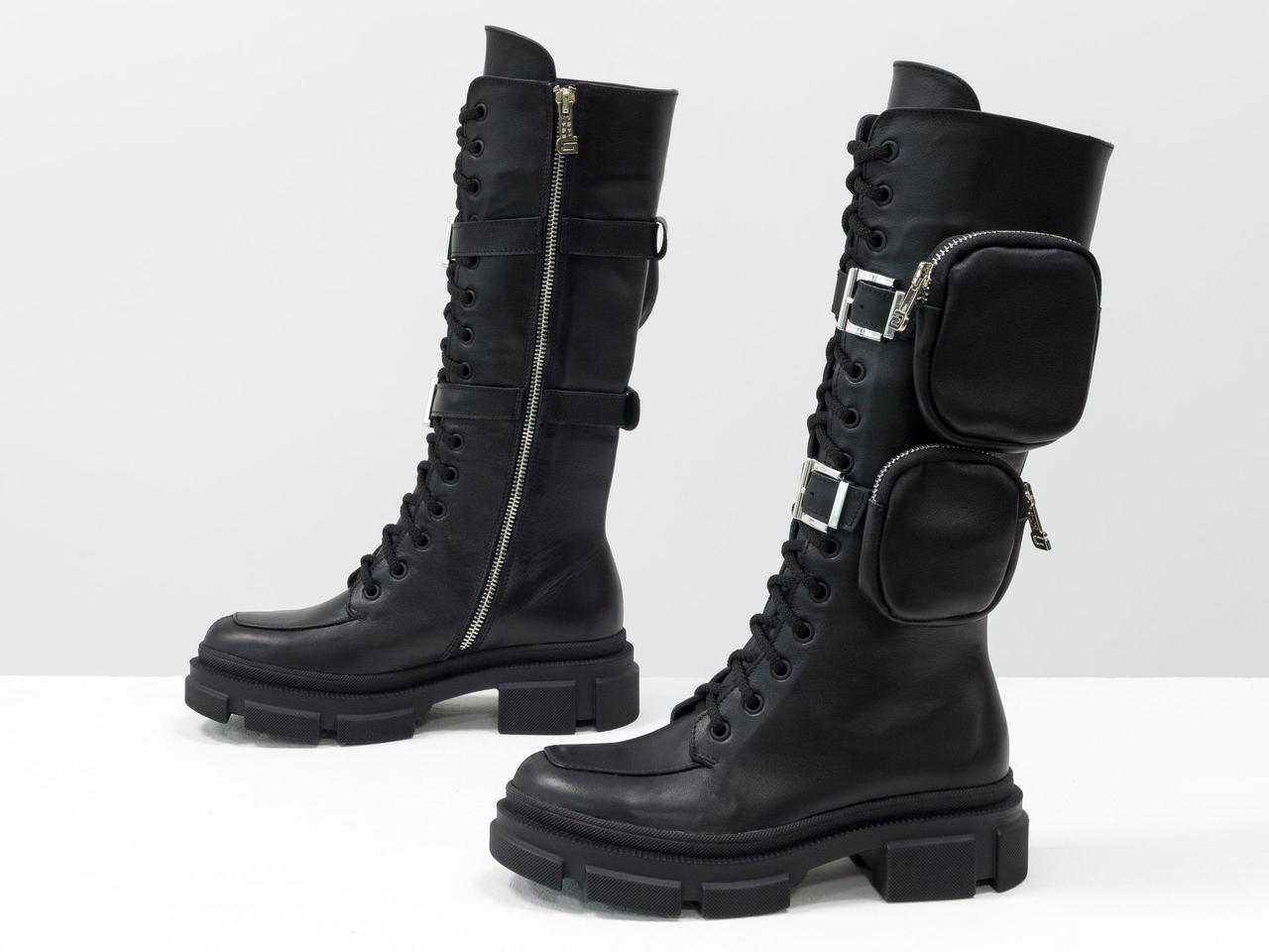 Высокие ботинки на шнуровке из натуральной гладкой лицевой черной кожи на тракторной подошве с кармашками