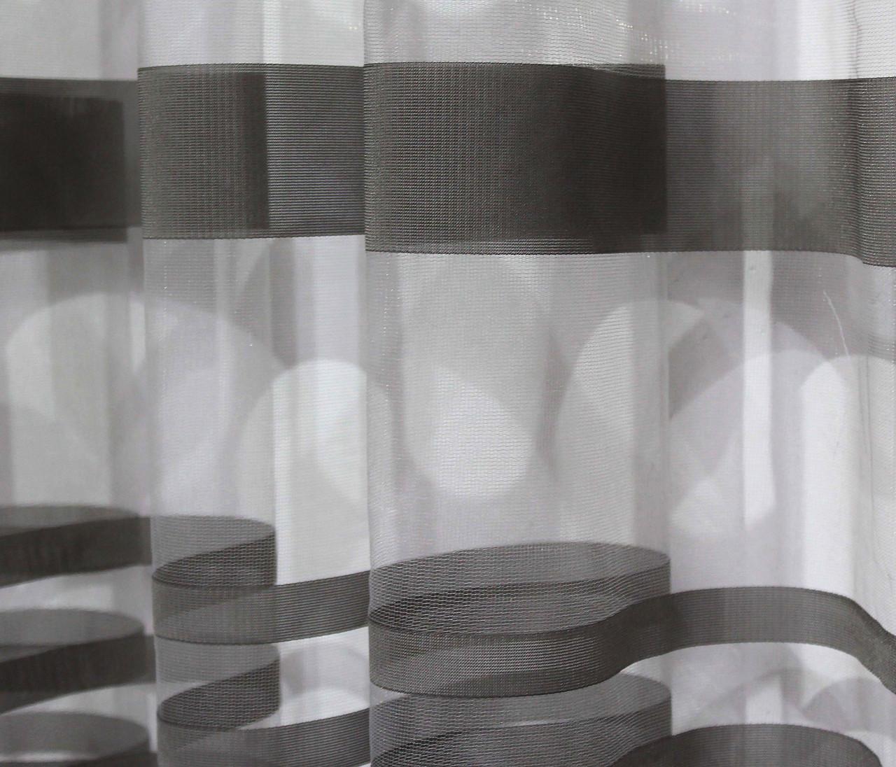 """Тюль фатин с принтом, коллекция """"Катрин"""". Цвет серый.  Код 208т (2,4*2,25) 40-155"""
