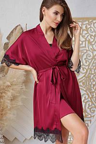 Женский бордовый халат с кружевом Илина