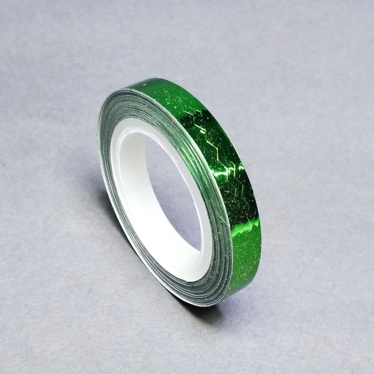 Фольга на липкой основе фигурная в рулоне, зелёная