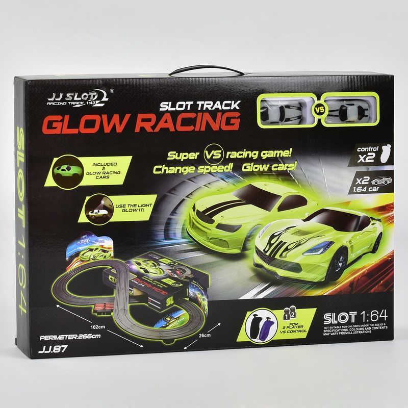Автотрек Glow Racing JJ 87-2 (8) р/у, от сети 220V, 2 неоновые машинки, в коробке
