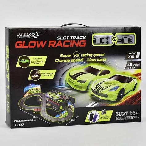 Автотрек Glow Racing JJ 87-2 (8) р/у, от сети 220V, 2 неоновые машинки, в коробке , фото 2