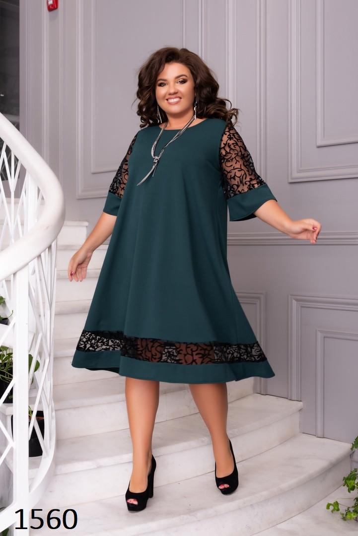 Платье свободное со вставками креп-дайвинг+сетка флок 50-52,54-56,58-60