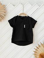 """Футболка для новорожденных """"Simply"""", черная с карманом. Размеры: от 62 до 86, фото 1"""