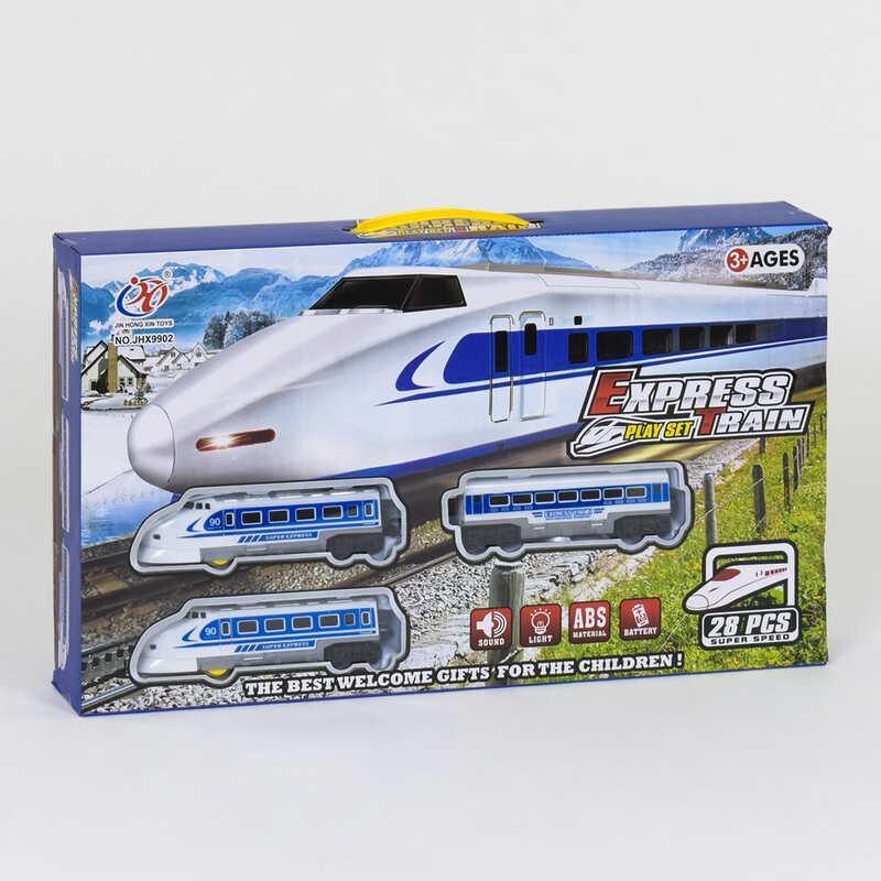 Железная дорога JHX 9902 (24/2) 28 эл., свет фары, звуковые эффекты, на батарейках, в коробке