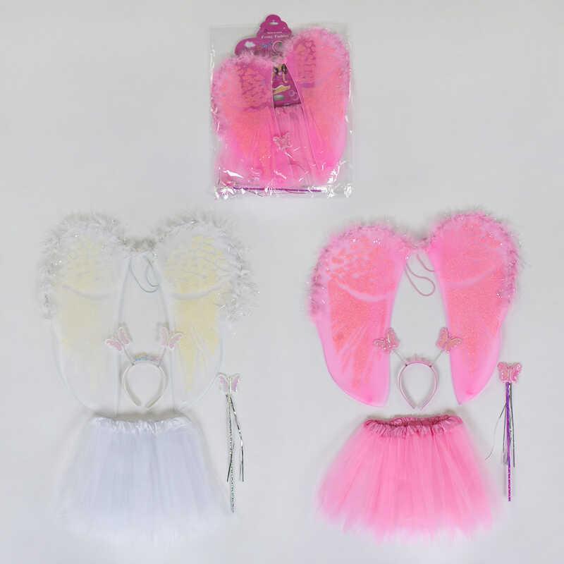 Карнавальный набор для девочки Ангел C 31244 (100) 2 вида, 4 предмета: юбка, крылья, жезл, ободок