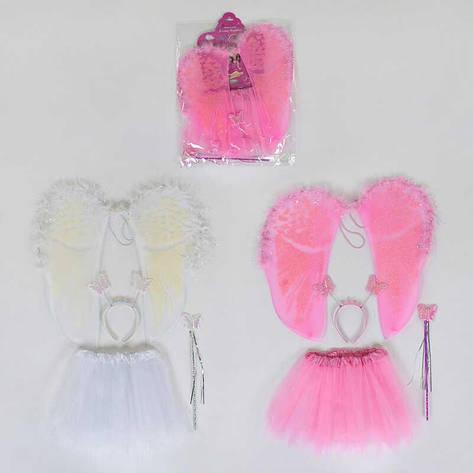 Карнавальный набор для девочки Ангел C 31244 (100) 2 вида, 4 предмета: юбка, крылья, жезл, ободок, фото 2
