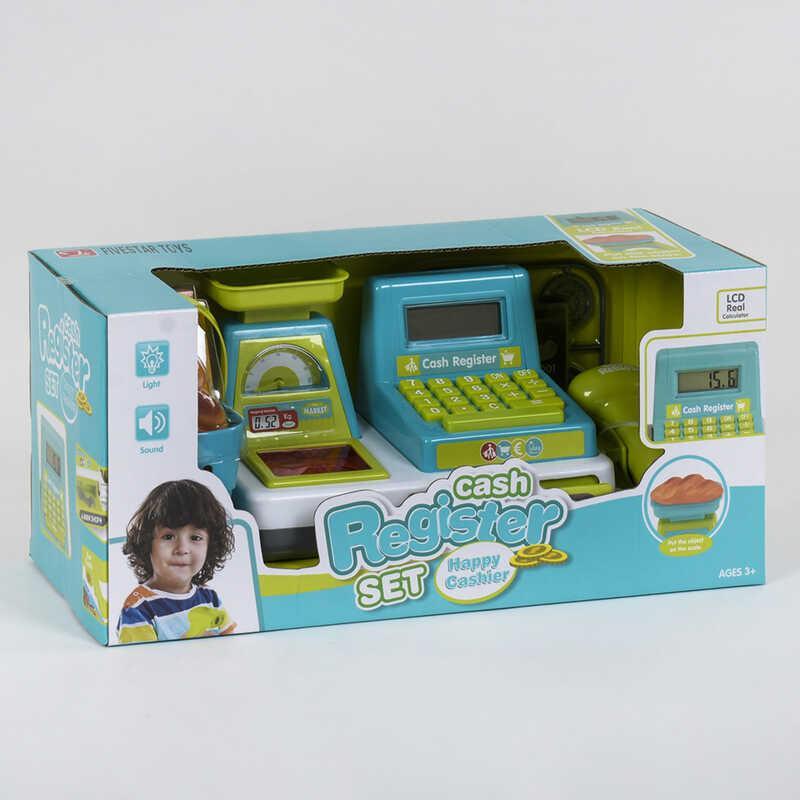 Кассовый аппарат 35533 А (24/2) световые и звуковые эффекты, сканер, корзинка с продуктами, в коробке