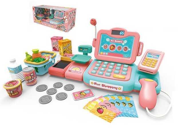 Кассовый аппарат 888 G (12) 24 предметов, калькулятор, свет, звук, 25 мелодий,  в коробке
