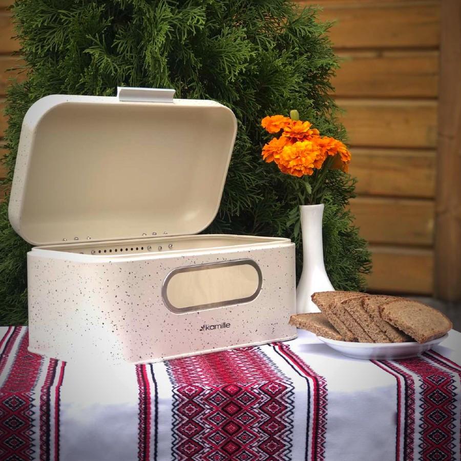 Хлебница из нержавеющей стали мрамор бежевый Kamille 30*19.5*14 см